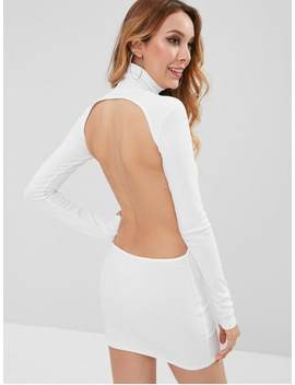 Turtleneck Cut Out Ribbed Mini Bodycon Dress   White M by Zaful