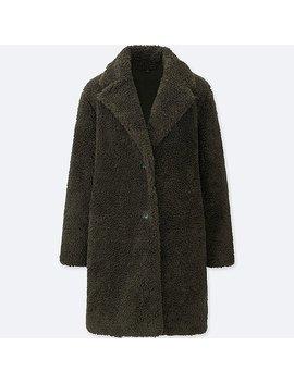 Women Pile Lined Fleece Long Sleeve Tailored Coat by Uniqlo