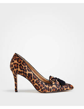 Aiden Leopard Print Haircalf Tassel Pumps by Ann Taylor