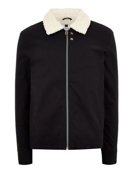 Navy Borg Lined Coach Jacket by Topman