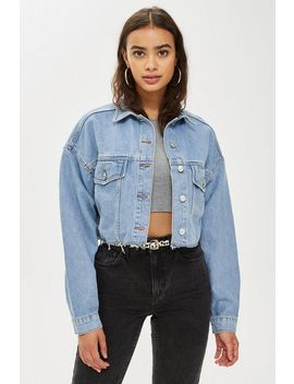 Tall Hacked Off Crop Denim Jacket by Topshop