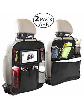 Backseat Car Organizer For Kids, Oyrgcik Kick Mats Back Seat Car Protector With Multi Pocket Storage Bag Holder For I Pad Tablet Bottle Drink Tissue Box Toys Vehicles Travel Accessories (Black, 2 Pack) by Oyrgcik