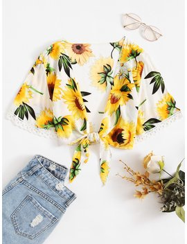 Lace Trim Sunflower Print Knot Top by Romwe