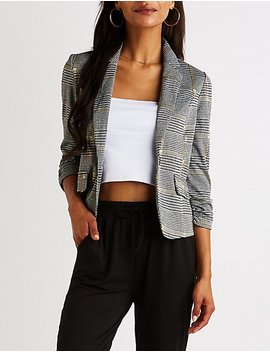 Houndstooth Cropped Blazer by Charlotte Russe