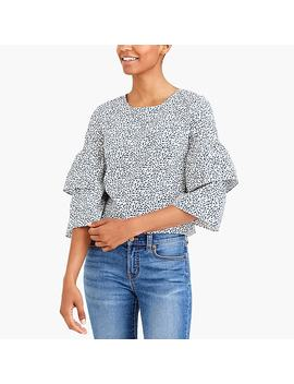 Printed Tiered Bell Sleeve Top by J.Crew