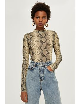 Petite Snake Print Long Sleeve Top by Topshop