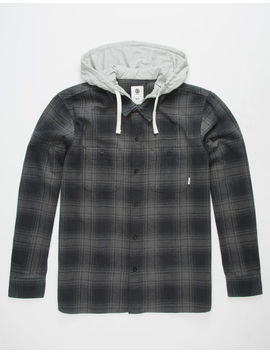 Element Miller Black Mens Hooded Flannel Shirt by Element