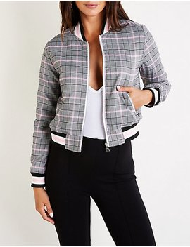 Plaid Bomber Jacket by Charlotte Russe