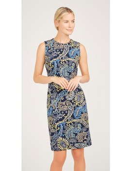 Devon Sleeveless Embroidered Dress In Fillmore Paisley by J.Mc Laughlin