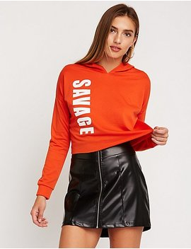 Savage Raw Edge Hoodie by Charlotte Russe