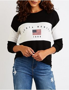 Santa Monica Graphic Pullover Sweatshirt by Charlotte Russe