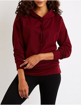 Drawstring Tunic Pullover Hoodie by Charlotte Russe