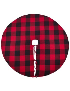 Buffalo Plaid Design Decorative Cotton Christmas Tree Skirt by Generic
