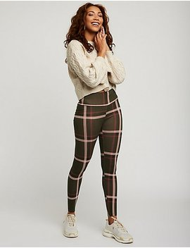 Plaid Hi Waisted Leggings by Charlotte Russe