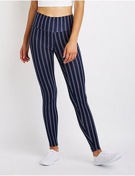 Striped High Waist Leggings by Charlotte Russe