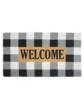 Buffalo Plaid Welcome Multicolor Coir Door Mat by Bed Bath And Beyond