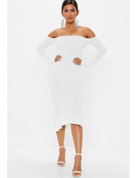 White Bardot Fishtail Hem Dress by Missguided