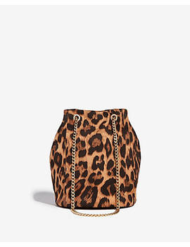 Leopard Chain Handle Bucket Bag by Express