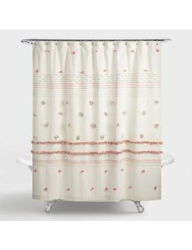 Ivory And Terracotta Striped Pom Pom Rimini Shower Curtain by World Market