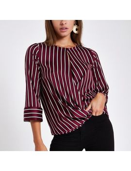 Red Stripe Wrap Front Blouse by River Island
