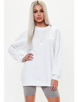Petite White Oversized Sweater Dress by Missguided