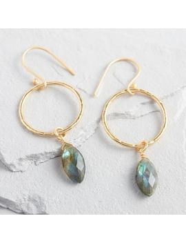 Gold Labradorite Drop Hoop Earrings by World Market