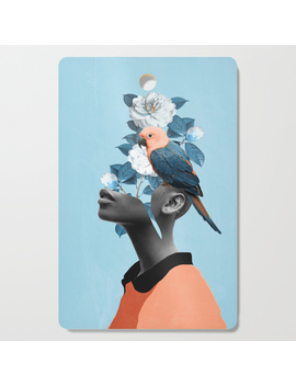 Girl With Parrot Cutting Board by