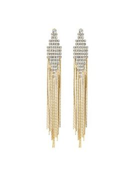 The Collection   Gold Diamante Chain Drop Statement Earrings by The Collection