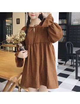 Yako   Plain Flared Long Sleeve Babydoll Dress by Yako