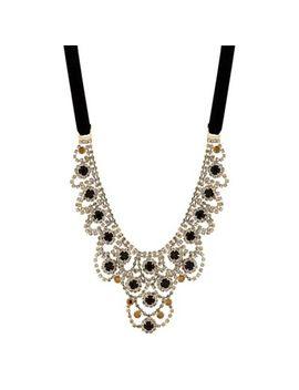 Mw By Matthew Williamson   Gold Black Crystal Ornate Statement Necklace by Mw By Matthew Williamson