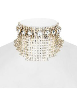 Mood   Gold Crystal Statement Necklace by Mood