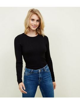 Tall Black Ribbed Crew Neck Jumper by New Look