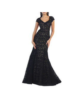 Sexy Exposed Back Cap Sleeve Evening Gown by Asstd National Brand