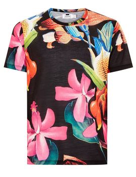 Black Jungle Floral T Shirt by Topman