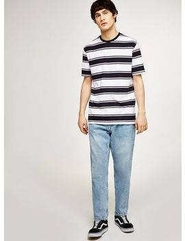 Black And Pink Striped T Shirt by Topman
