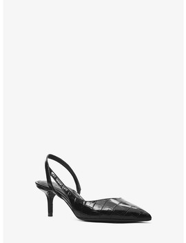 Eliza Flex Crocodile Embossed Leather Pump by Michael Michael Kors