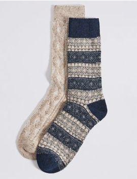 2 Pack Thermal Wool Fairisle Socks by Marks & Spencer
