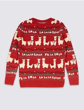 Pure Cotton Llama Jumper (3 16 Years) by Marks & Spencer
