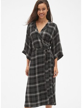 Plaid Tie Waist Midi Wrap Dress by Gap