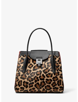 Bancroft Large Leopard And Tartan Satchel by Michael Kors Collection