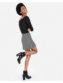 High Waisted Houndstooth Straight Mini Skirt by Express