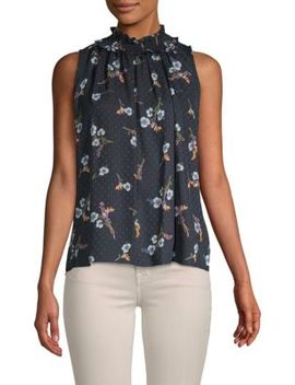 Natalie Floral Sleeveless Silk Top by Rebecca Taylor