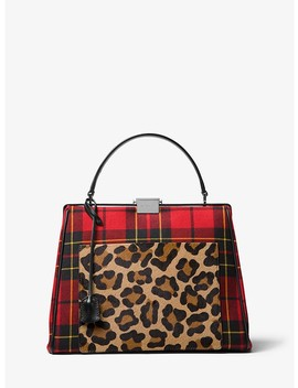 Simone Tartan And Leopard Top Handle Bag by Michael Kors Collection