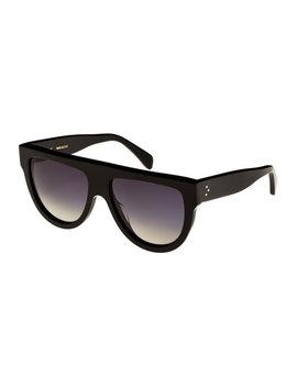 Flattop Gradient Shield Sunglasses, Black Pattern by Celine