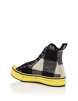 Plaid Canvas &Amp; Wool Platform Sneakers by R13