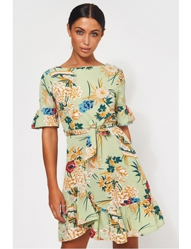 Green Floral Shift Dress by The Fashion Bible