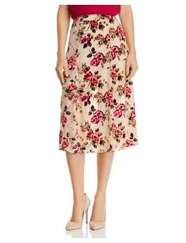 Athena Velvet Floral Burnout Midi Skirt by Alice And Olivia