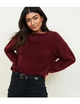 Burgundy Long Sleeve Fluffy Jumper by New Look