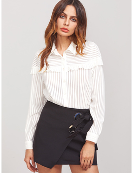White Striped Ruffle Trim Button Up Blouse by Romwe