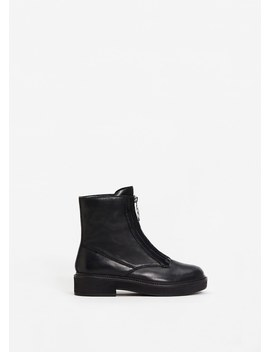 Zipper Leather Boots by Mango